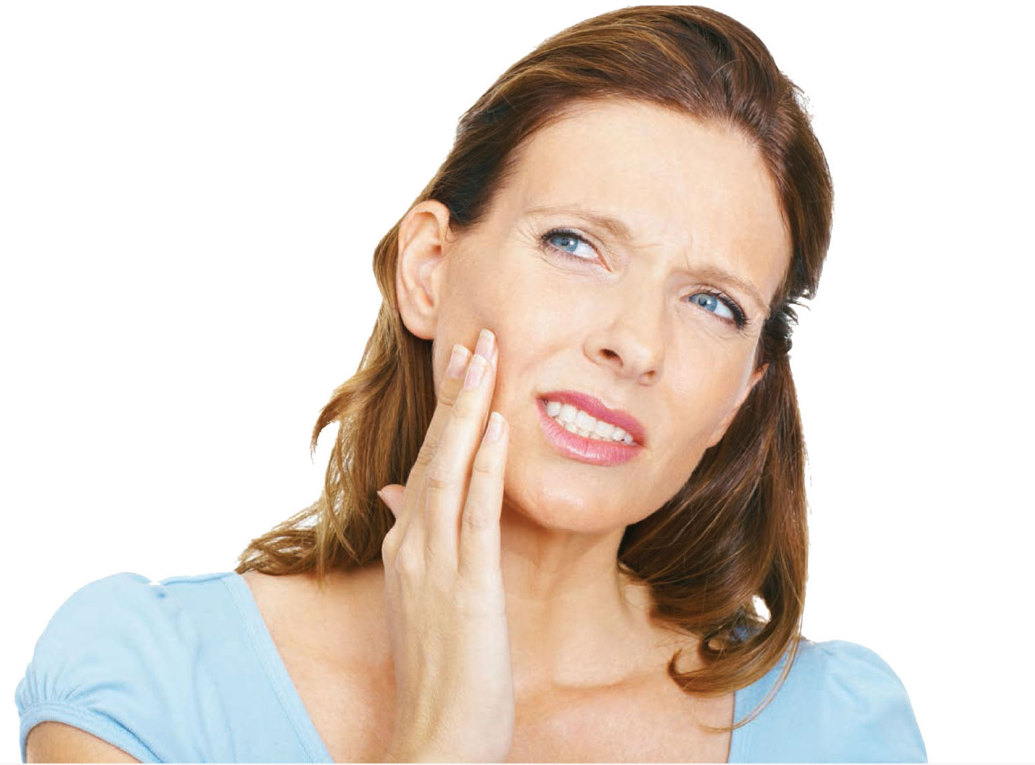 Teeth grinding Woman. Woman with jaw and muscle pain caused by bruxism and jaw clenching
